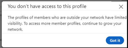 error message saying you cannot access this profile